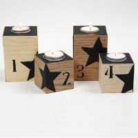 Candle Holder with Wood Veneer, black Numbers and Stars