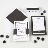 A black and white Invitation, Menu Card and Place Card
