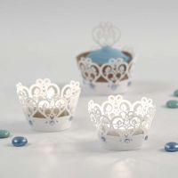Candle Holders with a Lace Border and Rhinestones