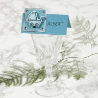 A Place Card with a Pram for a Christening
