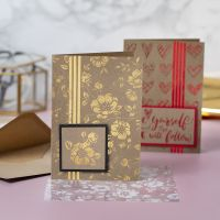 Greeting Cards decorated with Glue Foil and Deco Foil Flowers and Hearts