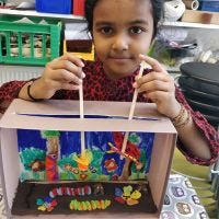 A puppet theatre with insects